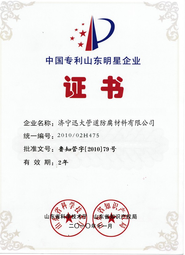 中国专利山东明星企业证书